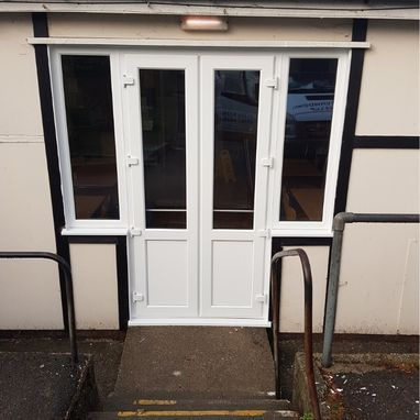 commercial doors and outside hand railing