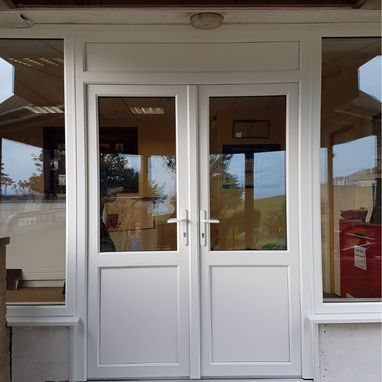 white commercial doors