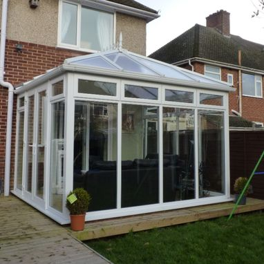 new conservatory and outside decking
